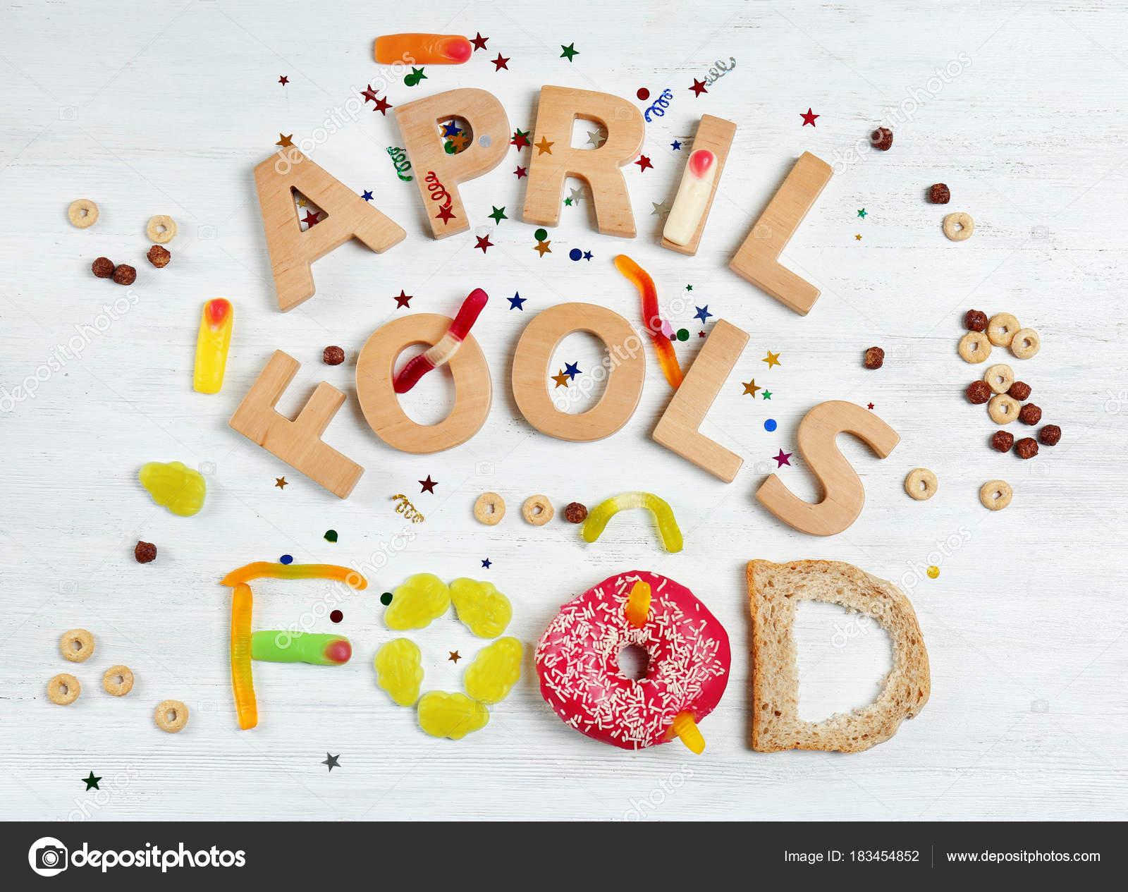 Composición Con Frase Abril Fools Dulces Comida Rosquilla