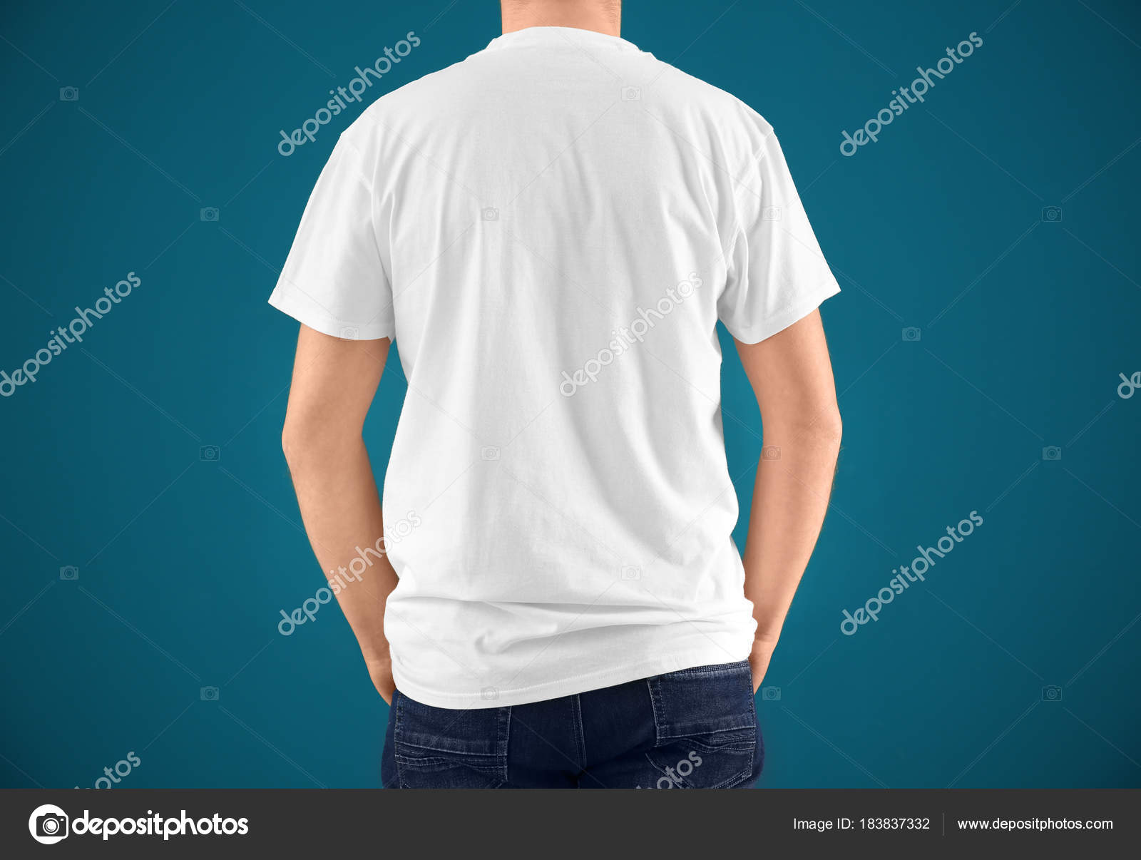 Young Man In Stylish T Shirt On Color Background Mockup For Design