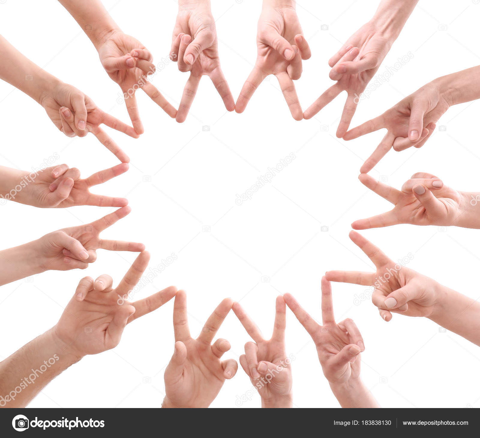 Young People Making Circle With Their Hands As Symbol Of Unity On White Background Stock Photo C Belchonock 183838130