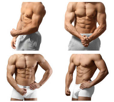 Collage with muscular young bodybuilders on white background