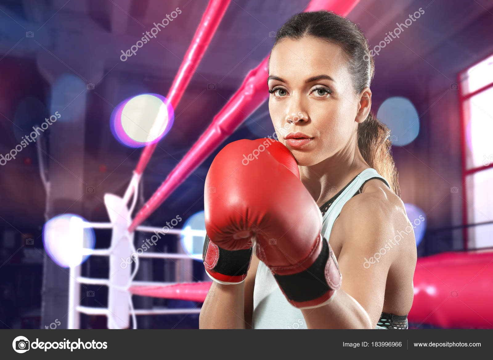 Young Woman Boxer Knocked Out Wiring Diagrams Ceiling Light Fixture Two Black Wires Elhouz Boxing Gloves Ring Background Stock Photo Belchonock Rh Depositphotos Com Holly Holm