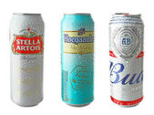 KYIV, UKRAINE - SEPTEMBER 18, 2017: Cans with alcohol drinks of different popular brands on white background