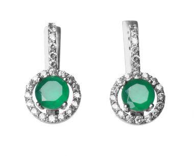 Beautiful earrings with emeralds