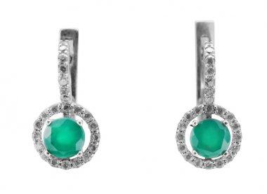 beautiful stylish earrings with emeralds