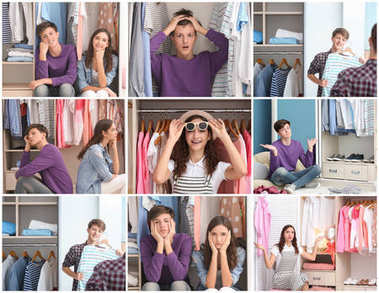 Set with teenagers and different clothes in wardrobe room