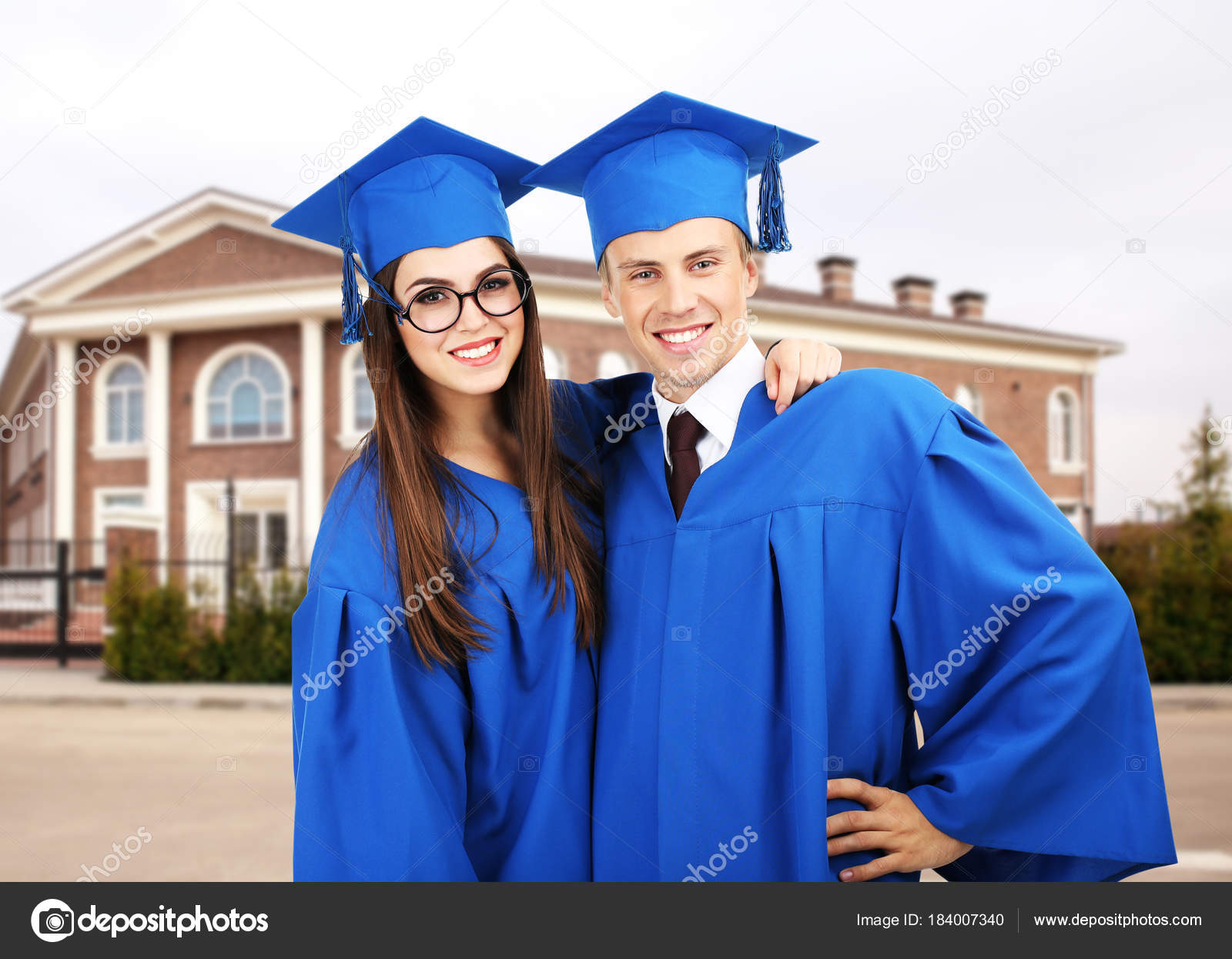 Students Graduation Gowns Caps Campus Territory — Stock Photo ...