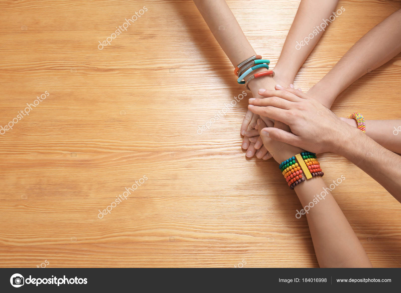 People Putting Hands Together Wooden Table Symbol Unity Stock