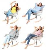 Sada s mladými ženami, posezení v pohodlných křeslech na bílém pozadí