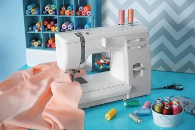 Sewing machine with fabric