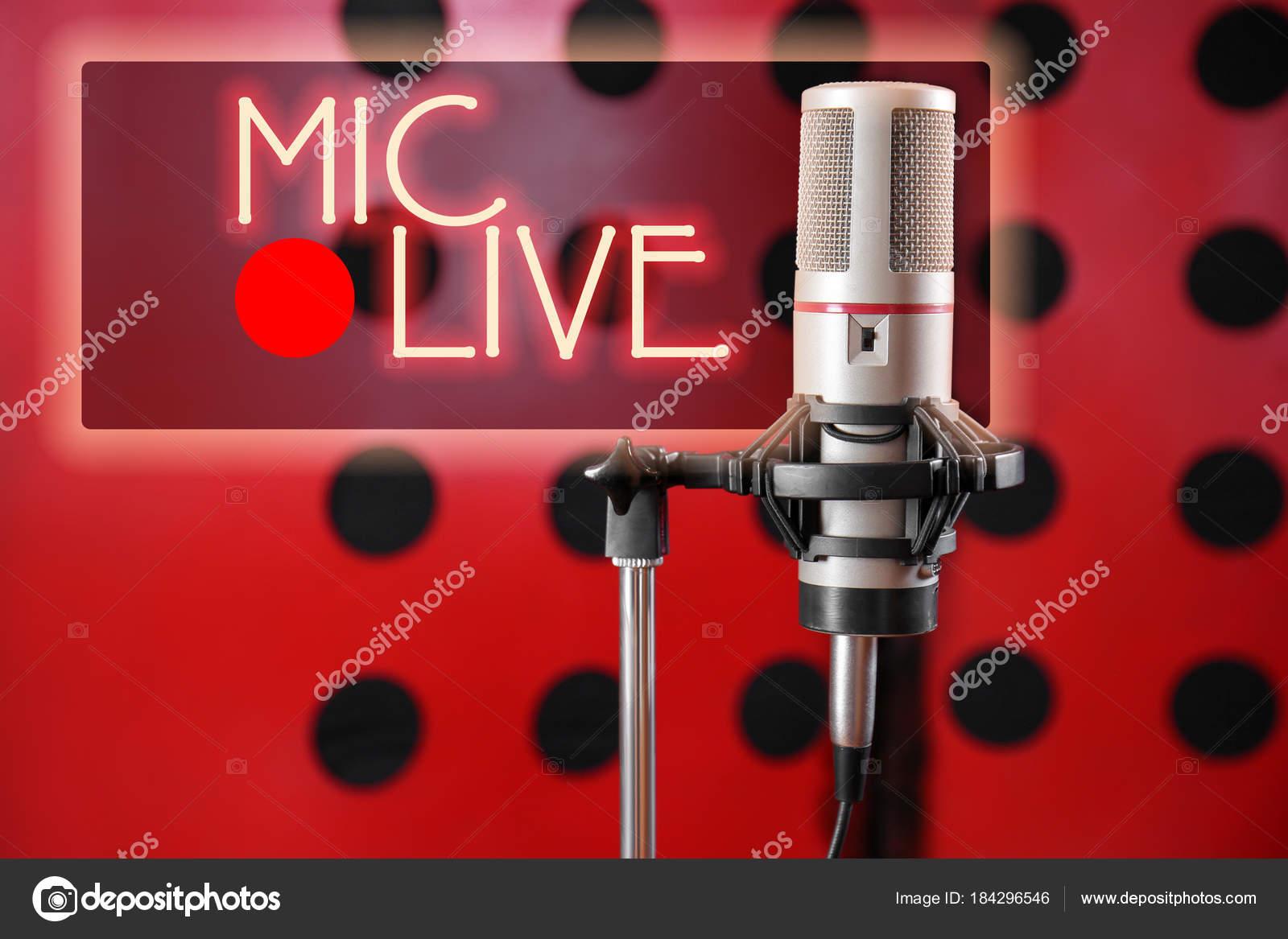 Microphone for live radio broadcast — Stock Photo © belchonock