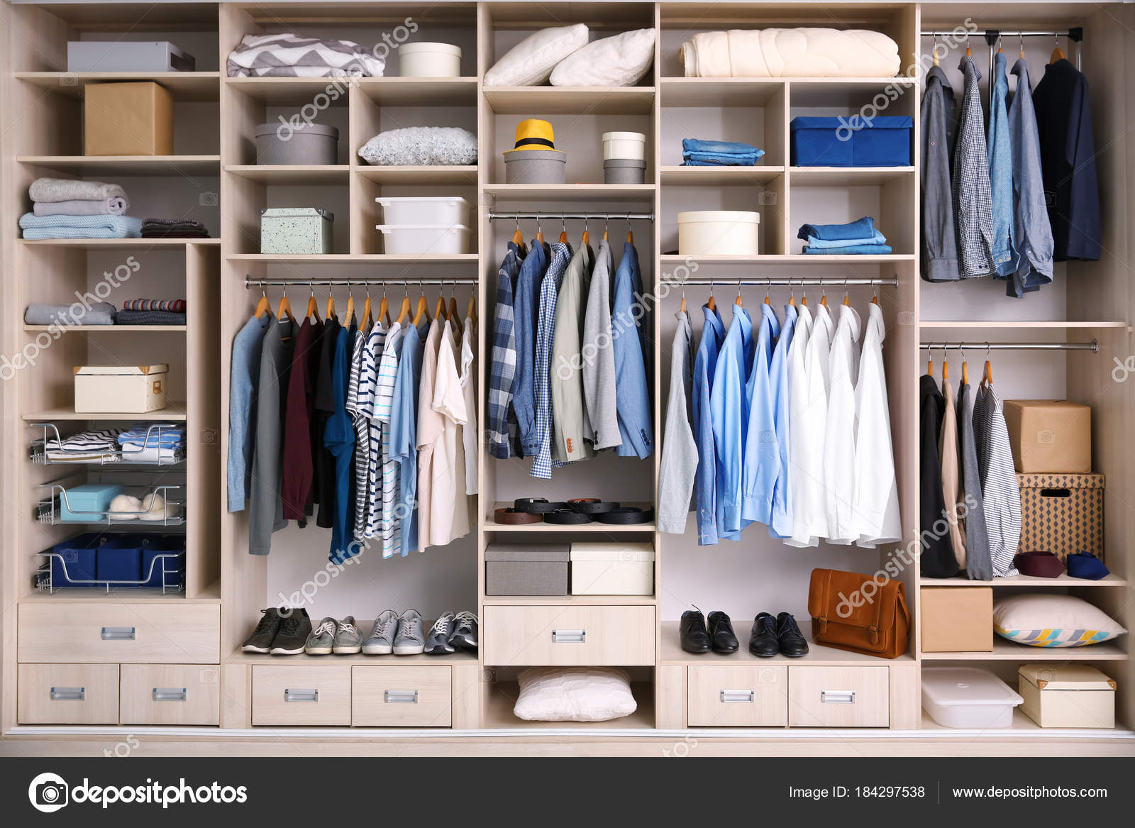 on sale 791dd 0a61b Big wardrobe with male clothes for dressing room — Stock ...
