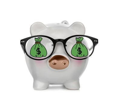 Piggy bank with reflection
