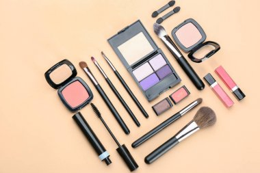 Decorative cosmetics and tools of professional makeup artist on color background stock vector