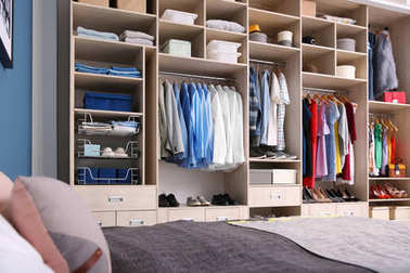Dressing room interior with big wardrobe