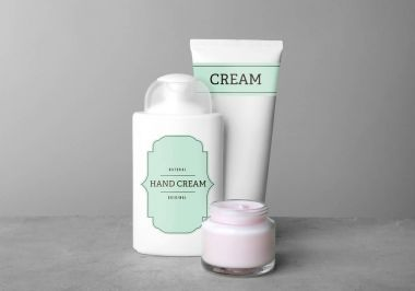 Body cream set on table