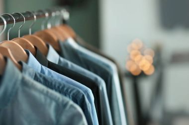 Clothes rack with many shirts