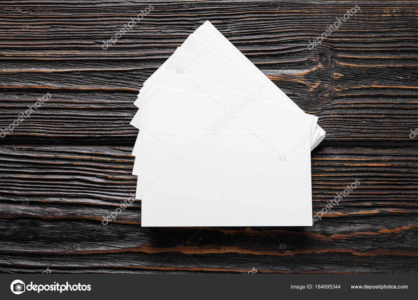 blank business cards on wooden background stock photo belchonock