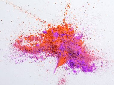 Colorful powders for Holi festival on white background stock vector