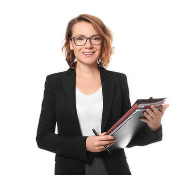 Beautiful real estate agent with documents on white background