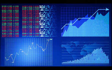 Monitor with stock data, closeup. Financial trading concept