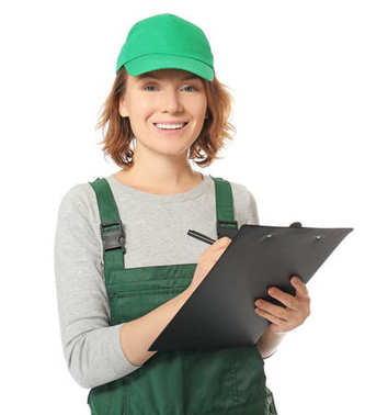 Female auto mechanic with clipboard and pen on white background