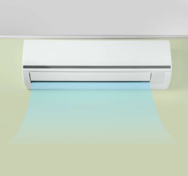 Switched on conditioner with flow of cold air indoors