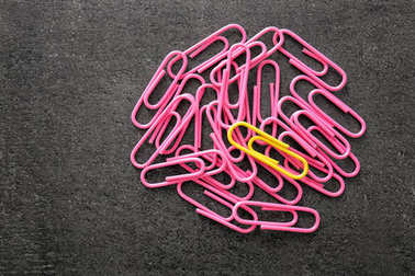One yellow clip among pink ones on gray background. Difference and uniqueness concept