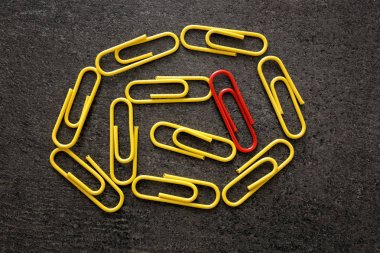 One red clip among yellow ones on gray background. Difference and uniqueness concept