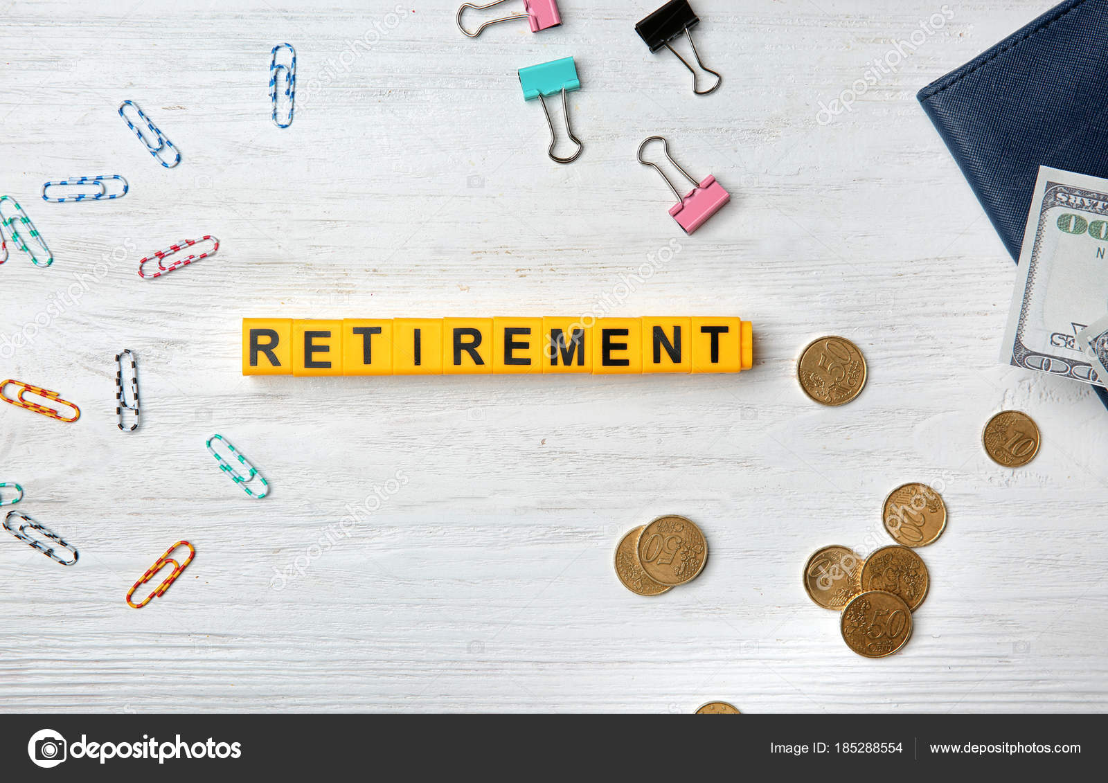 word retirement clips money light background pension planning