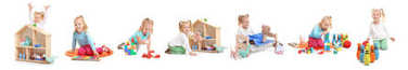 Collage of happy little girl playing with different toys on white background
