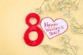 Fényképek Száma 8, üdvözlés kártya-val Boldog nőnap alkalmából szavakat és a virág szín háttér