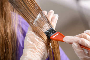 Professional hairdresser dying client's hair in beauty salon, closeup