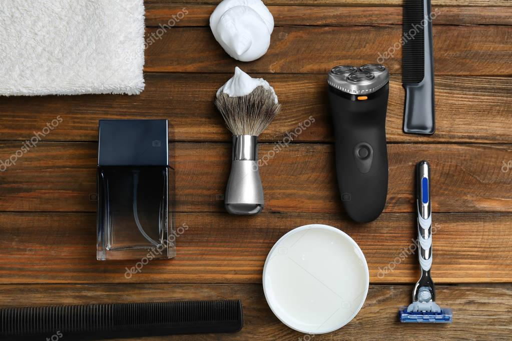 Shaving accessories for man on wooden table