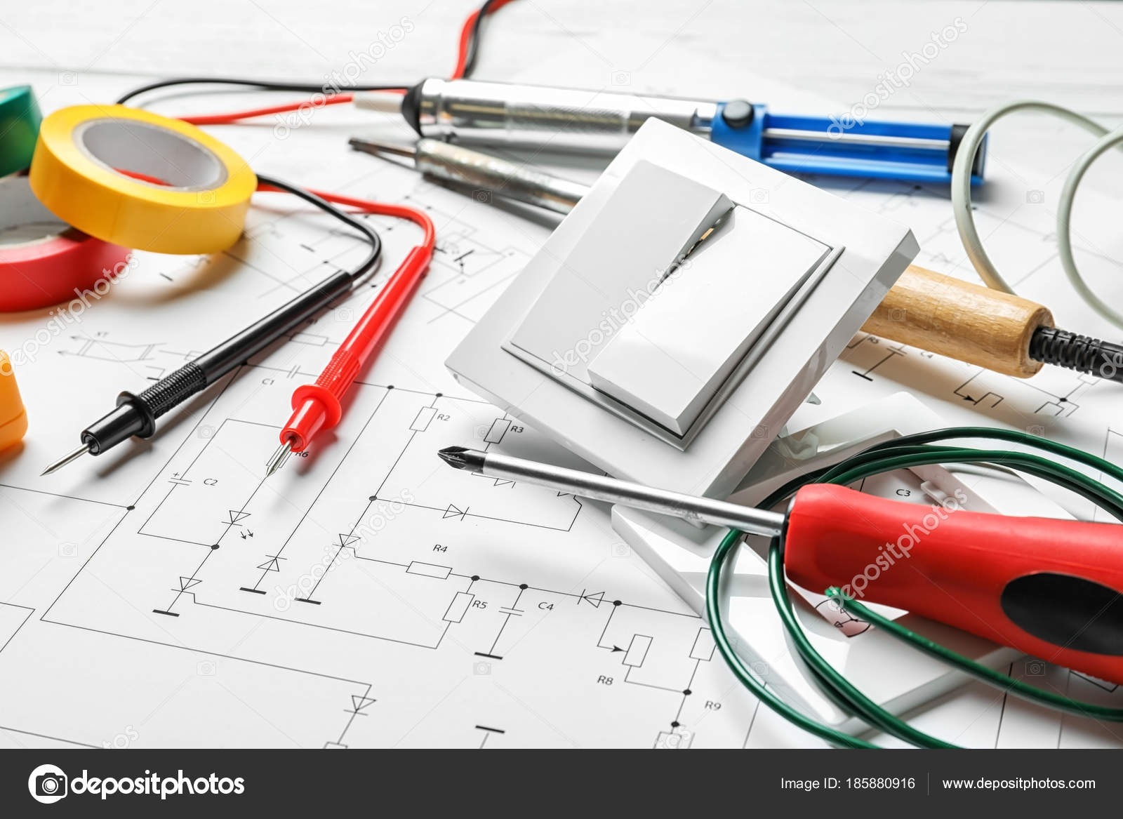 Different Electrical Tools Circuit Diagram Stock Photo Electrician
