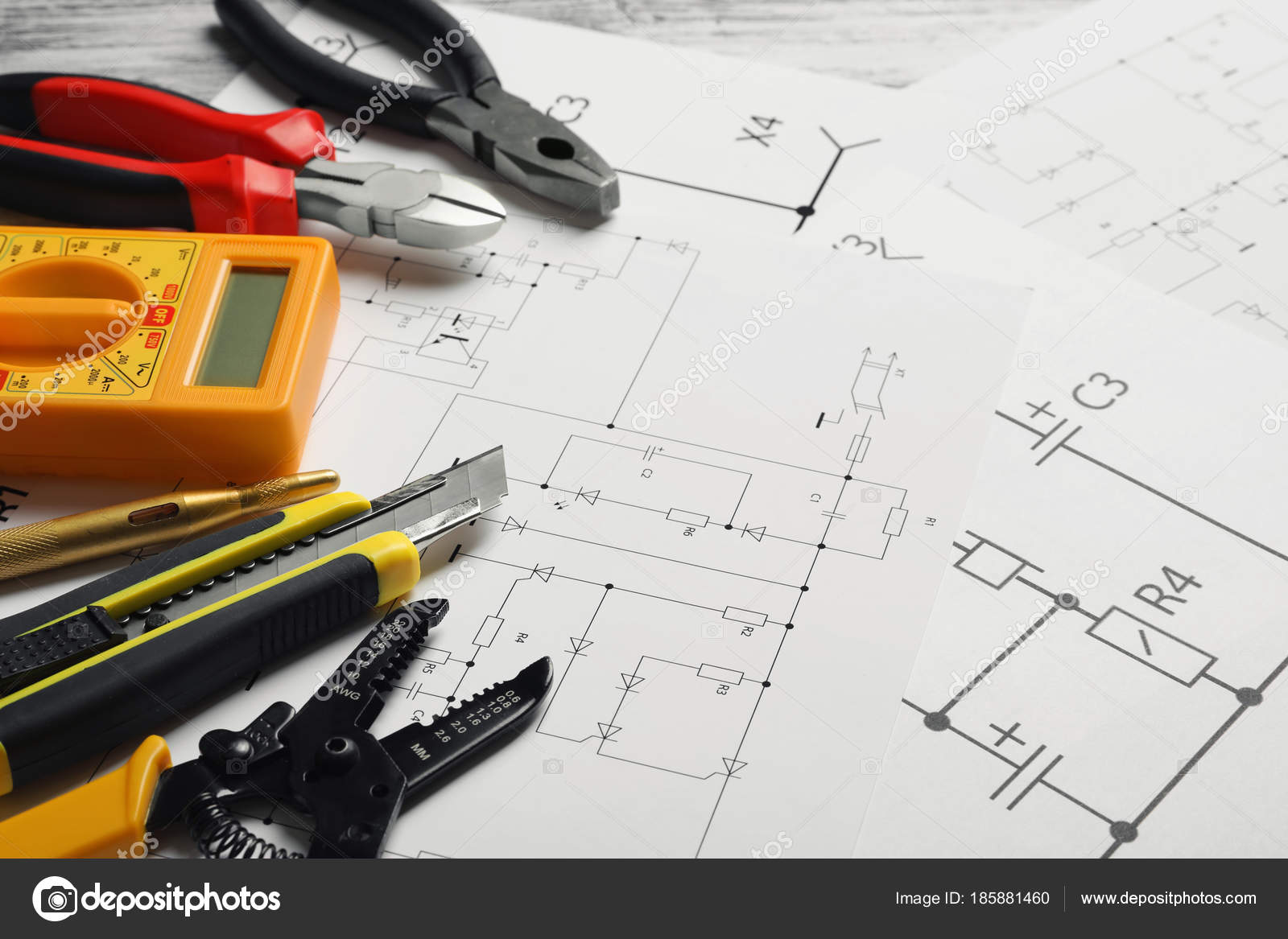 Different Electrical Tools Circuit Diagram Stock Photo Schematic Drawing Tool