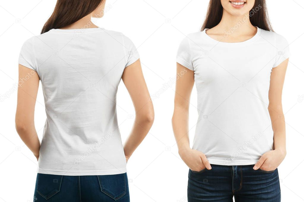 Front and back views of young woman in stylish t-shirt on ...