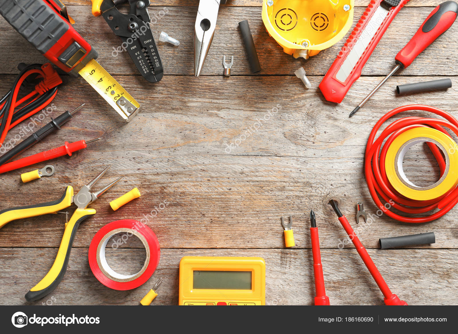 Different Electrical Tools On Wooden Background Stock Photo C Belchonock 186160690