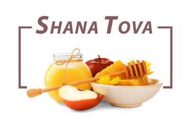 Text Shana Tova and traditional food such as honey, apple, pomegranate on white background
