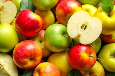 Ripe juicy apples as background