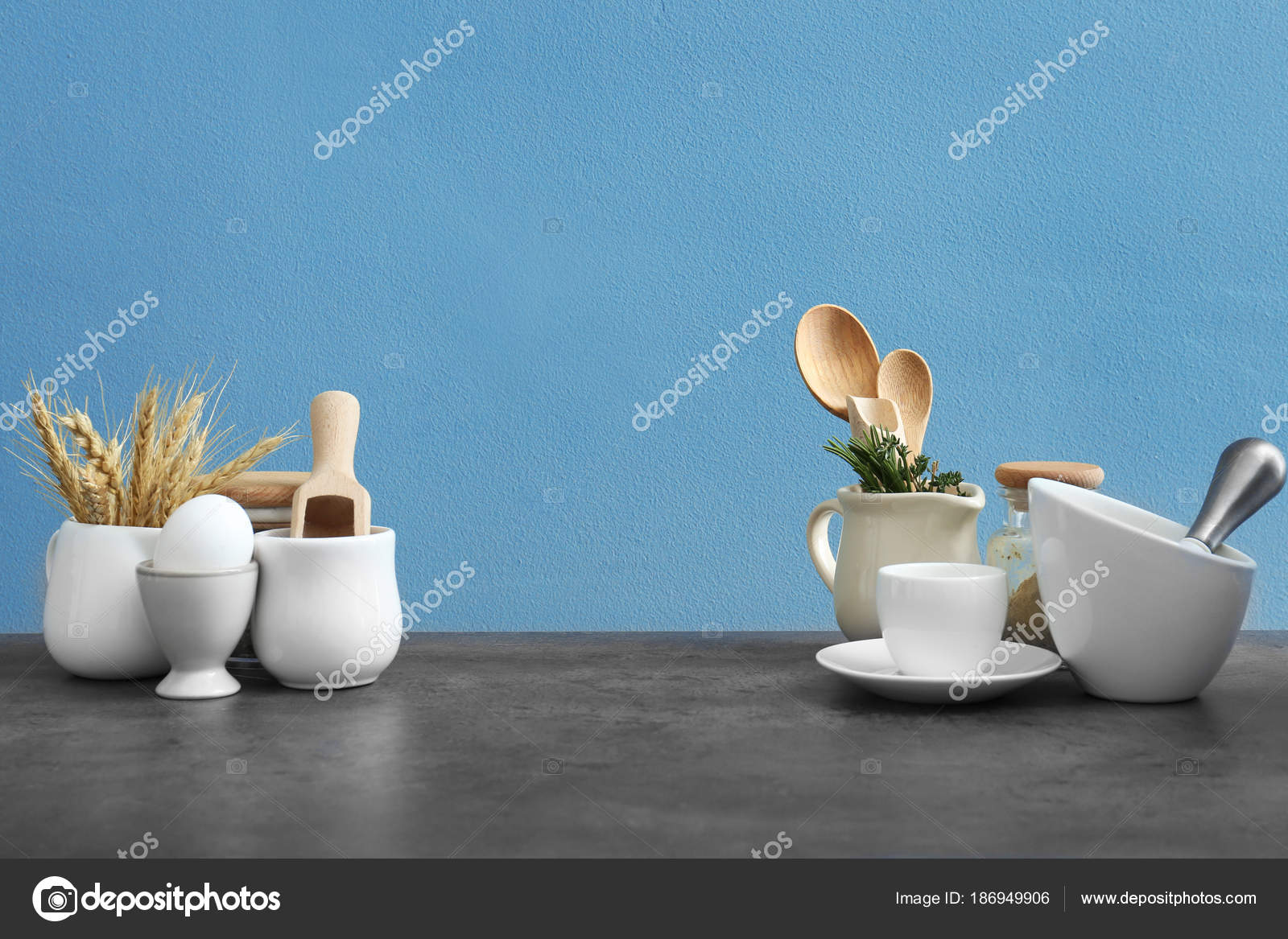 Different cooking utensils on table — Stock Photo © belchonock ...