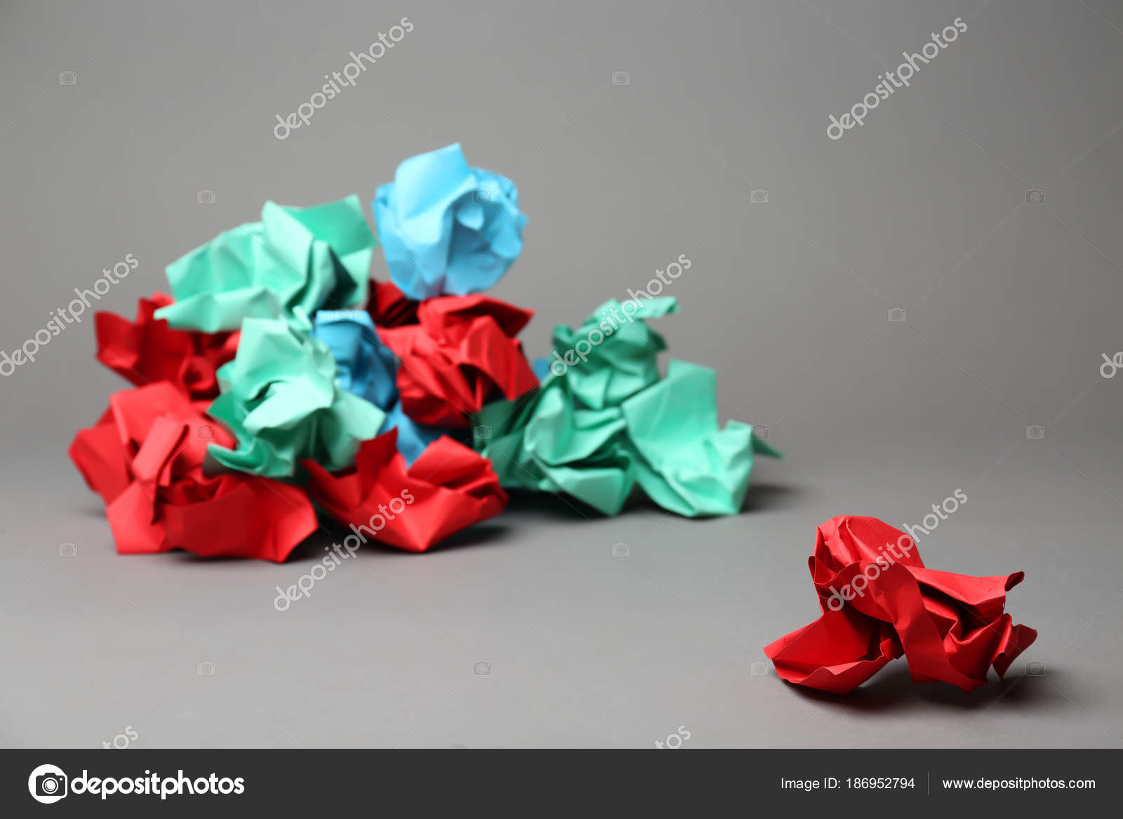 crumpled paper ball pile different ones grey background — stock
