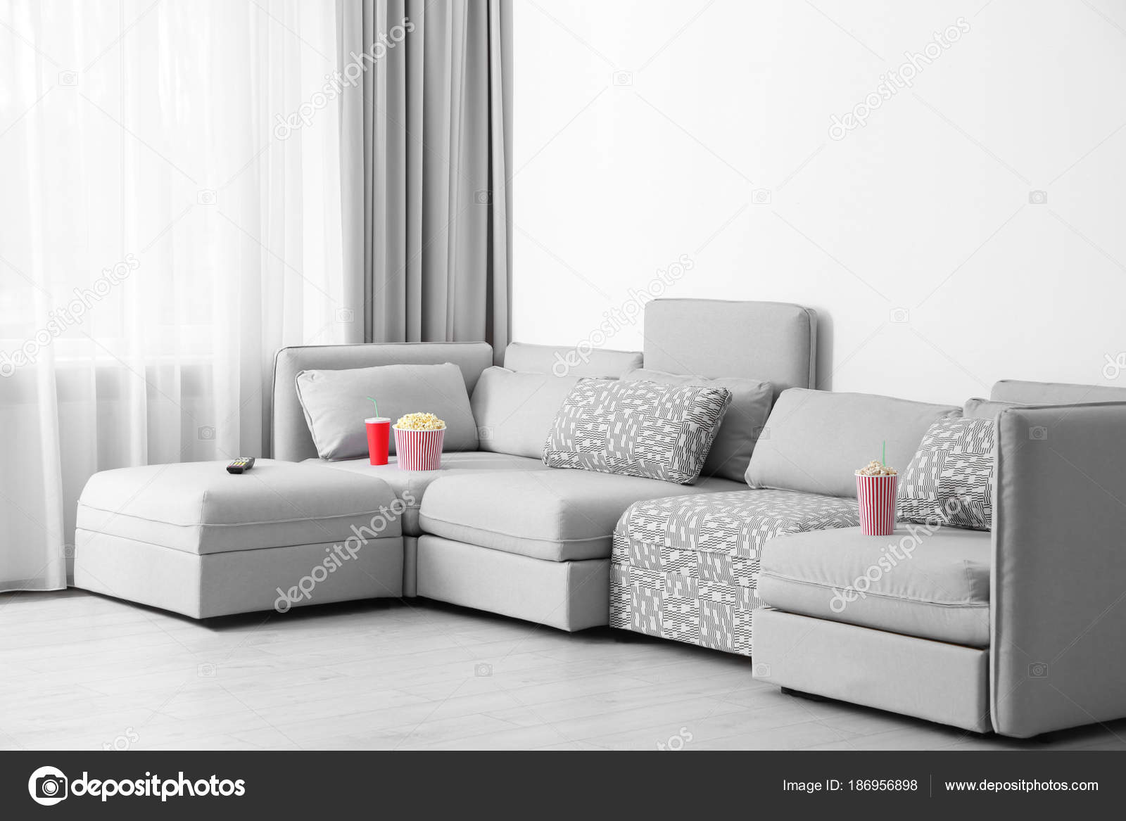 Comfortable Sofa Popcorn Drink Remote Control Home Cinema U2014 Stock Photo