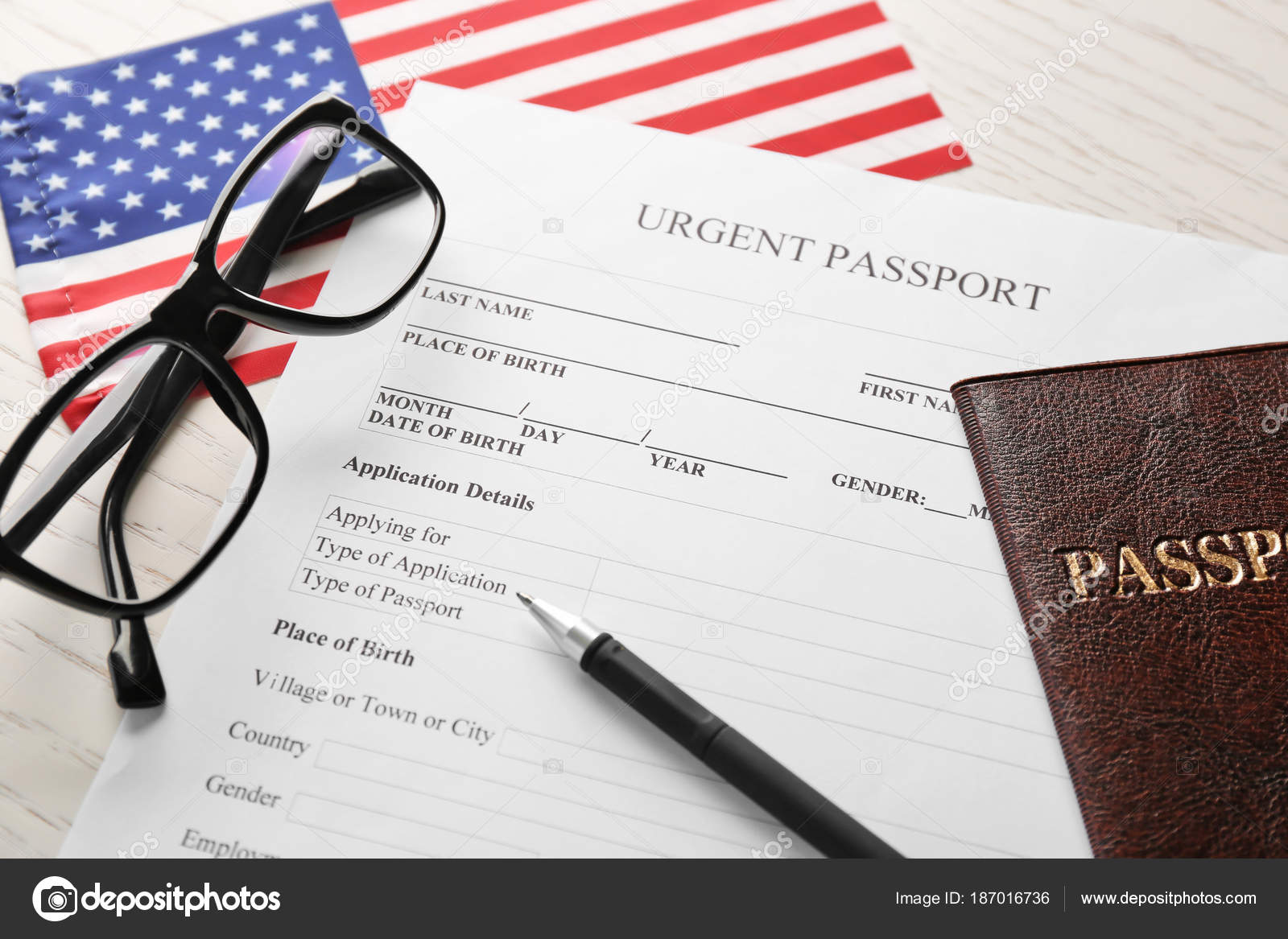 Passport Application Form And American Flag On Table Immigration