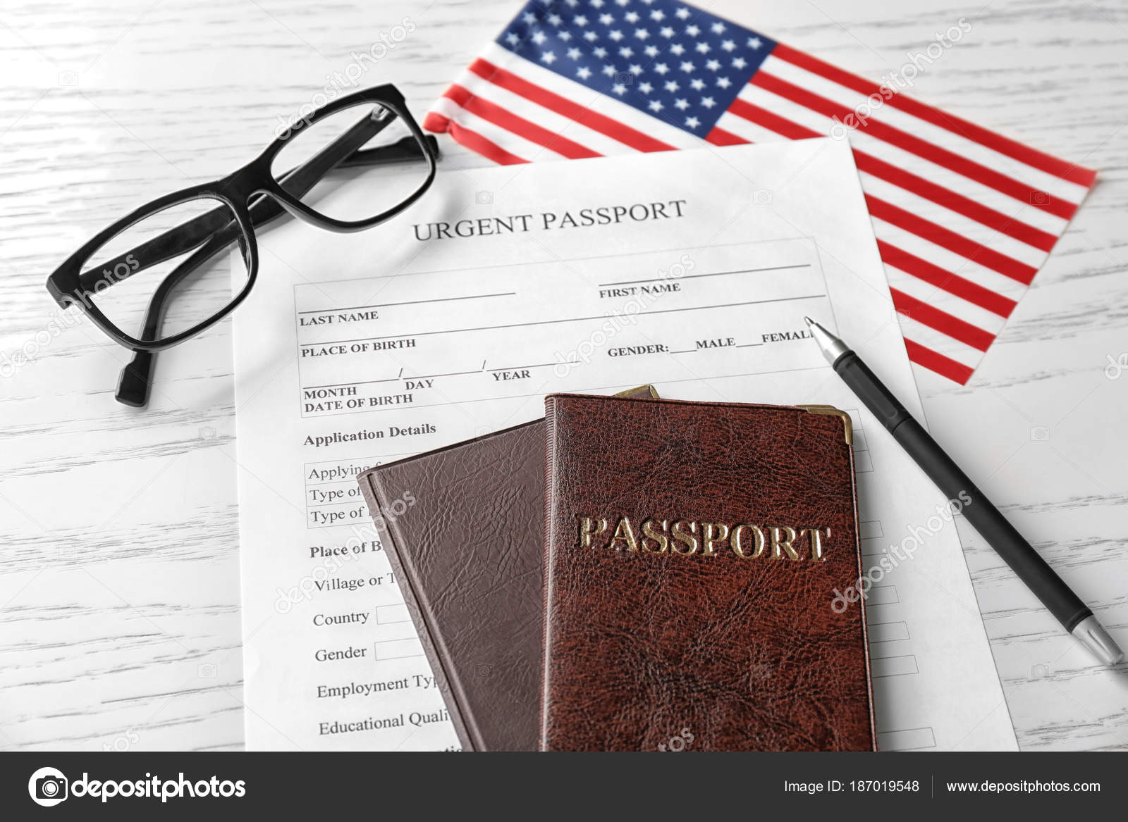Passports Application Form And American Flag On Table Immigration