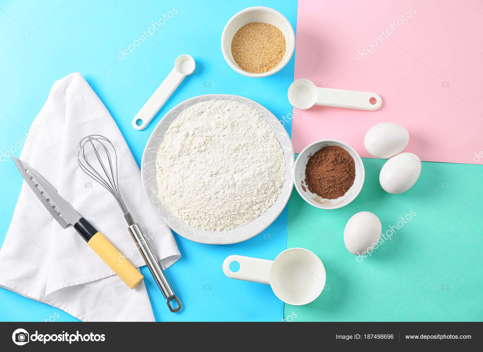 Set of kitchen utensils with products on color background. Cooking ...
