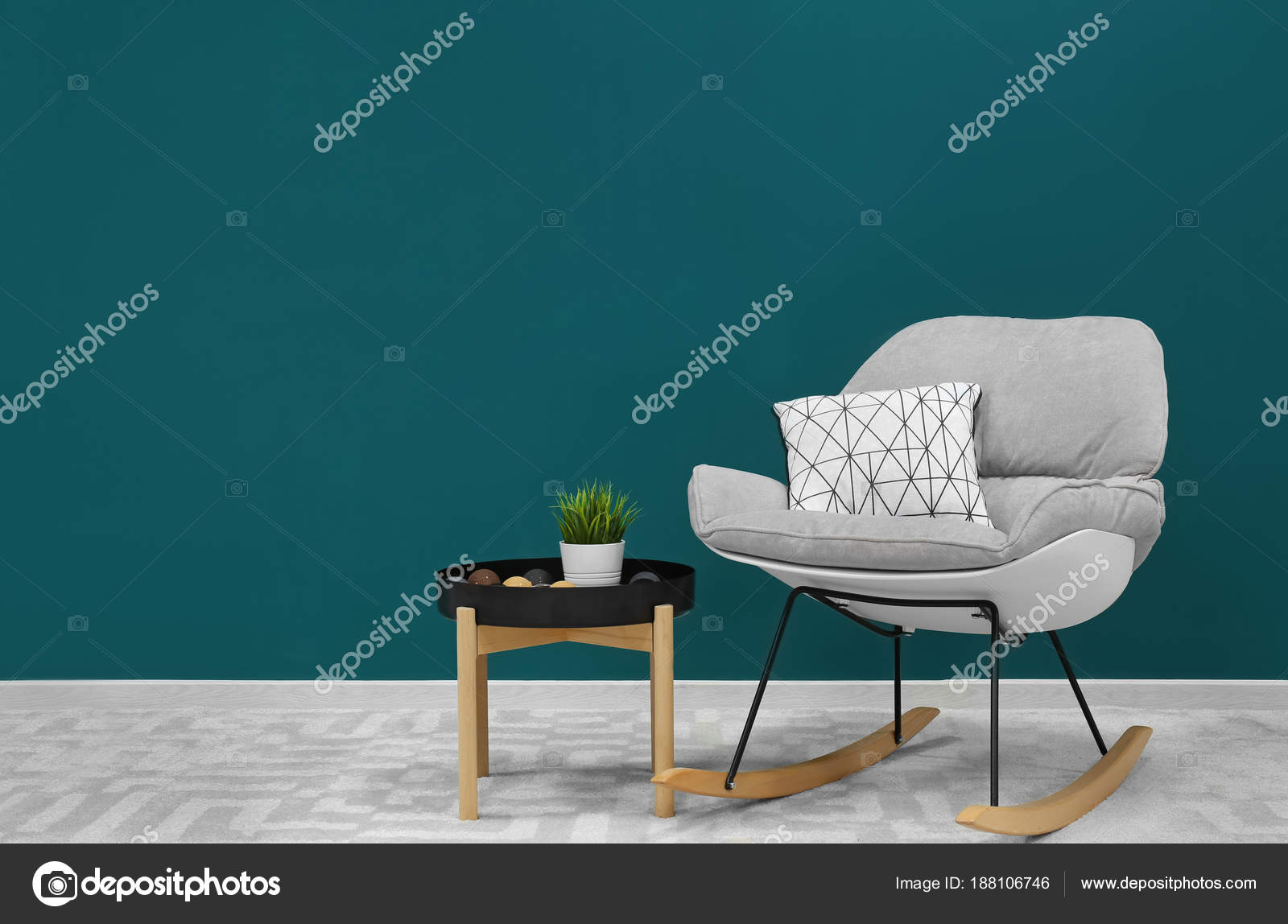 Trendy Living Room Interior Comfortable Armchair Shaded Spruce Wall Stock Photo C Belchonock 188106746