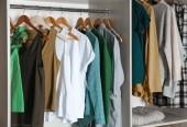 Fotografie Závěsy s různými oblečení v šatní skříni