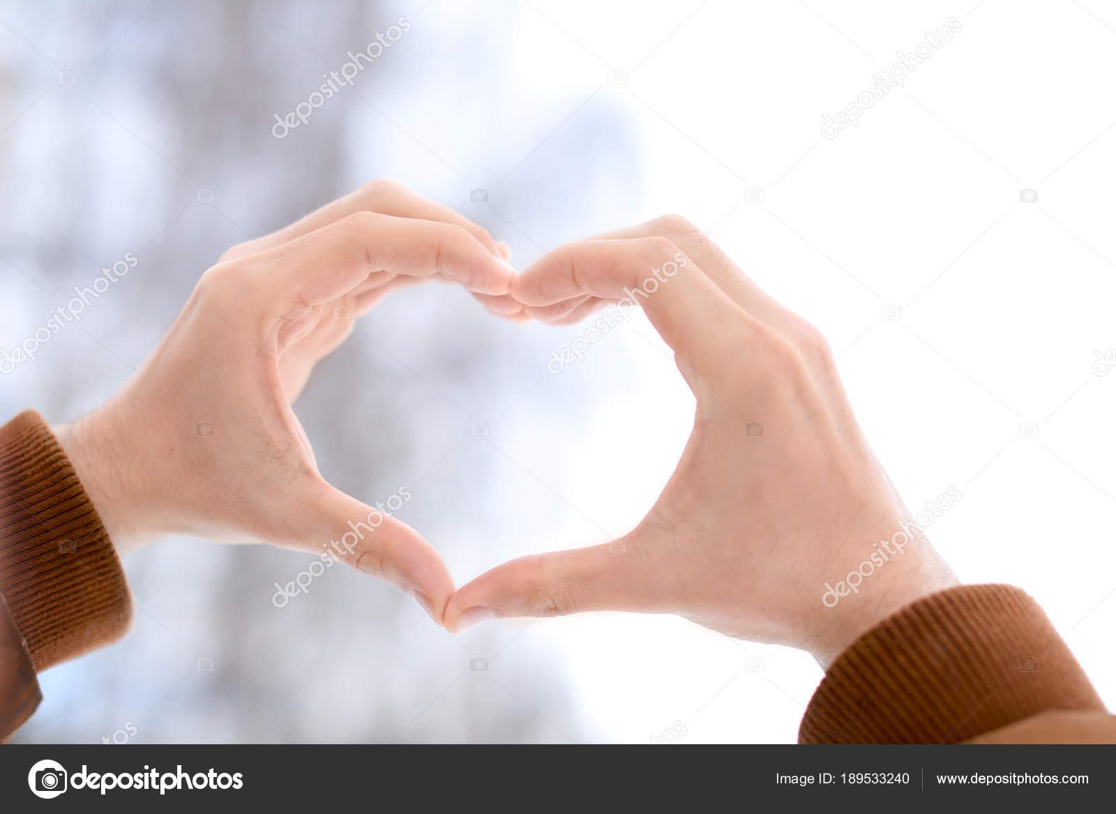 Man Making Heart Symbol Stock Photo Belchonock 189533240