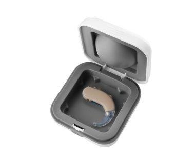 Hearing aid in box
