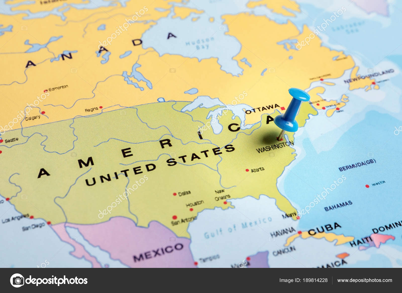 North Of Usa Map.Close Map North America Pushpin Traveling Usa Stock Photo